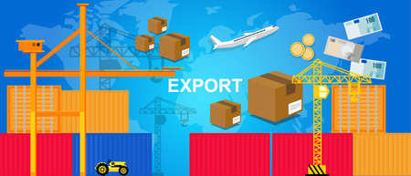 air port: exports trading transportation and logistic. harbor and containers plane and crane money and package box concept of world trade