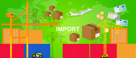 world trade: exports trading transportation and logistic. harbor and containers plane and crane money and package box concept of world trade