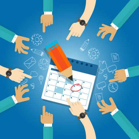 Plan d'action date limite du calendrier agenda des réunions de l'équipe de collaboration de la date cible d'affaires prochaine étape la date atteindre ensemble Banque d'images - 53582366