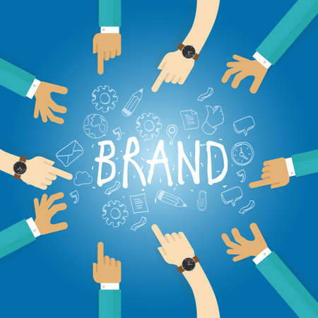 company name: brand building build company business name branding team work marketing vector