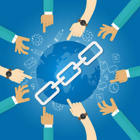 backlink: link building seo search engine optimization world connect hands blue vector