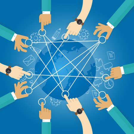 connecting world building transportation network globe collaboration team work interconnection infrastructure Vectores