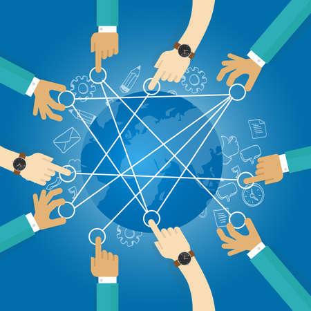 reliant monde la construction équipe de collaboration infrastructure d'interconnexion de travail de globe de réseau de transport Vecteurs