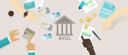 supervisory: Basel accord Committee on Banking Supervision International regulatory framework for banks vector