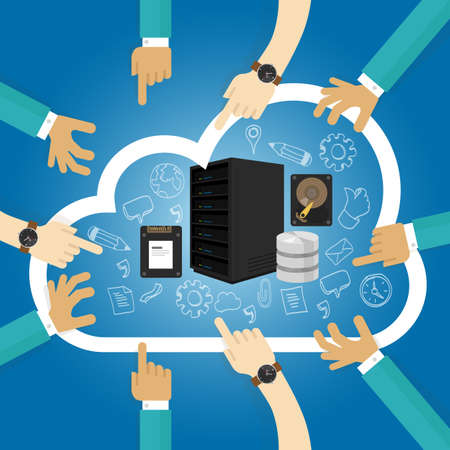 IaaS Infrastructure as a service shared hosting hardware in de cloud storage database-server virtualisatie vector