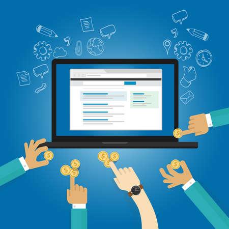Anzeigen der Online-Werbung Pay-per-Click-Echtzeit-Ansicht Zahlung Beitrag Spende Vektor Bieten
