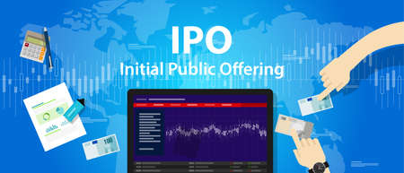 initial public offerings: IPO initial public offering stocks market company vector