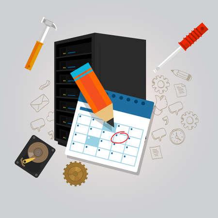 server onderhoud agenda schema planwijziging vaststelling van hardware oplossen preventieve vector