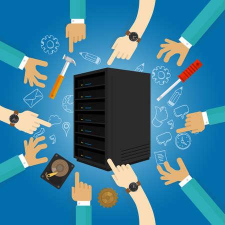 centro de computo: hardware de servidor de fijaci�n de la soluci�n de problemas de mantenimiento preventivo vector de datos de copia de seguridad cepillada