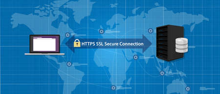 https: HTTPS SSL Secure connection internet certificate network communication vector