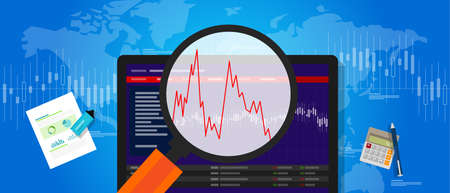 fluctuation: volatile market stock volatility down crash trend price investment index fluctuation vector Illustration