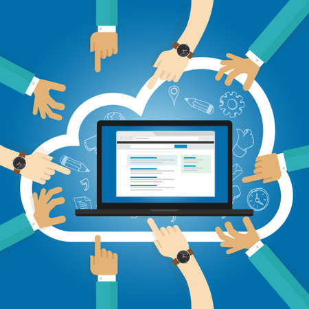 SaaS Software as a service cloud application access internet subscription basis centrally hosted on-demand software vector Vettoriali