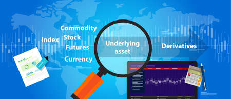 trading stocks: underlying assets derivative trading stocks index future commodity futures currency market pricing value vector