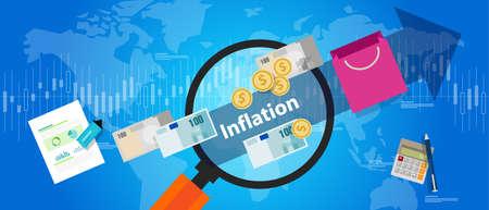 inflation: inflation goods price increase macro economy indicator blue illustration concept shoppingvector