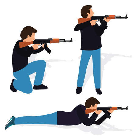 kneeling: man shooting rifle gun weapon position shot action firearm standing prone kneeling aim target automatic machine gun vector Illustration