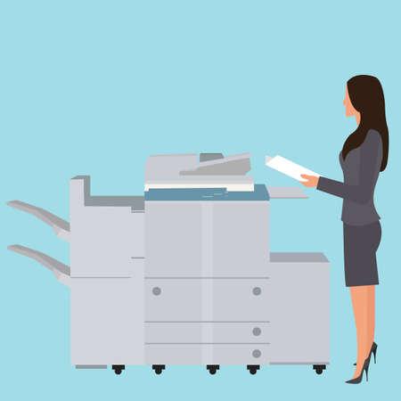 fotocopiadora: fotocopia mujer de la oficina de la m�quina copiadora de pie de reproducci�n de documentos grandes fotocopiadora vectorial Vectores