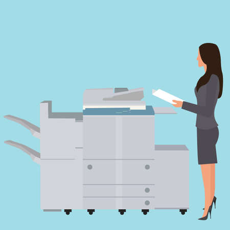 copy: photo copy copier machine office woman standing copying document  big photocopier vector