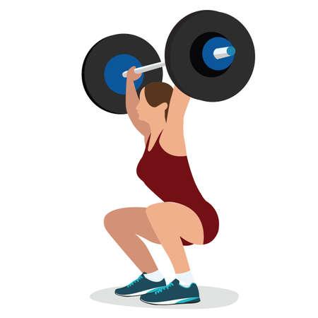 levantando pesas: Mujer de peso femenino formaci�n levantar la barra de levantamiento de entrenamiento de fuerza ilustraci�n vectorial cuerpo fuerte levante Vectores