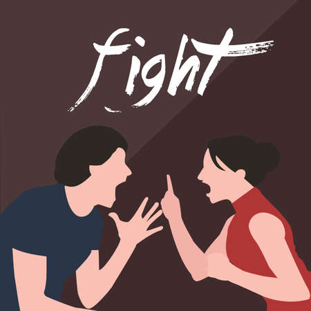 couple fight: couple fight man woman screaming argue shouting to each other conflict in marriage relationship divorce vector