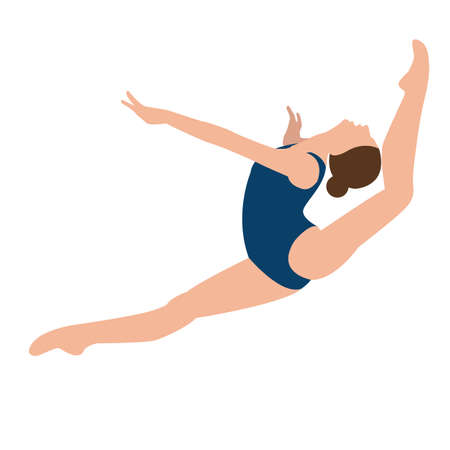 woman girl female gymnastics move position jumping sport performance acrobat pose vector