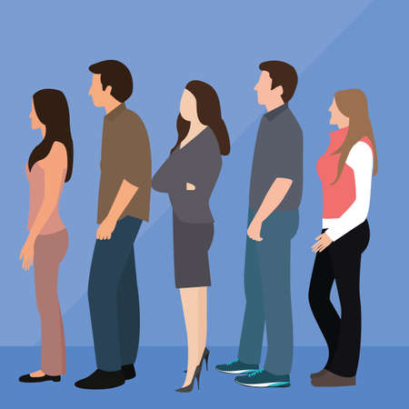 to queue: group of people man woman queue line standing waiting vector Illustration