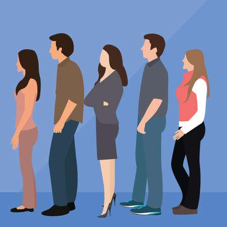 mujer: grupo de línea de cola de la mujer gente hombre de pie a la espera del vector Vectores