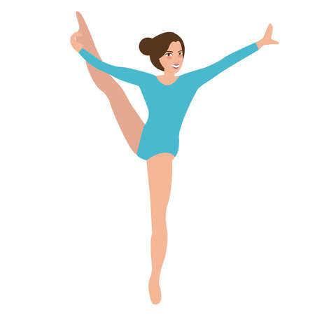 woman pose: woman girl female gymnastics move position sport performance acrobat pose vector