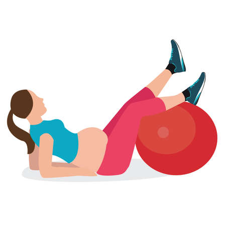 pregnancy exercise: pregnant woman gym exercise fitness pregnancy ball healthy female vector
