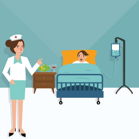 woman lying in bed: Hospital nurse patient in bed room  sick health care treatment clinic vector