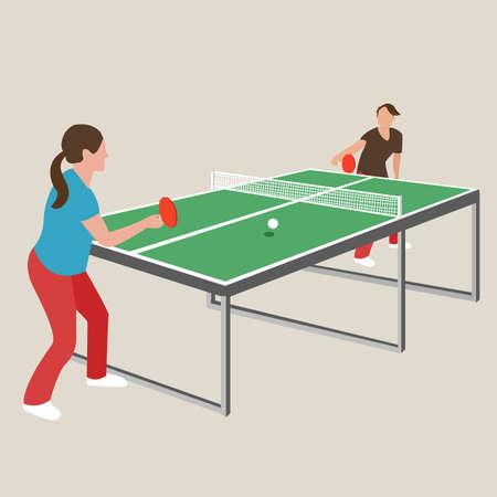 tennis da tavolo da ping pong donna femminile ragazza atleta disegno giochi gioco di sport dei cartoni animati illustrazione vettoriale Vettoriali