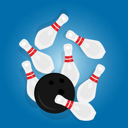sport object: bowling ball strike pin hit strike sport object drawing illustration vector