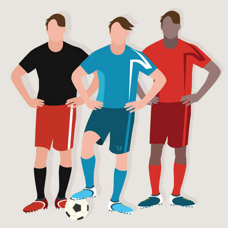 soccer players: soccer man team play football standing player ball flat drawing illustration vector Illustration