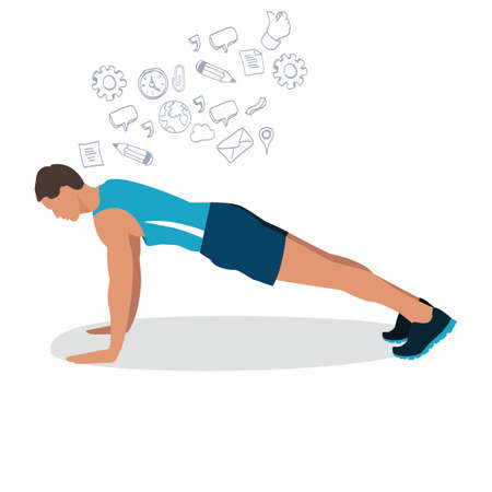 push up: man male push up gym workout exercise illustration flat drawing vector fitness training pose position icon Illustration