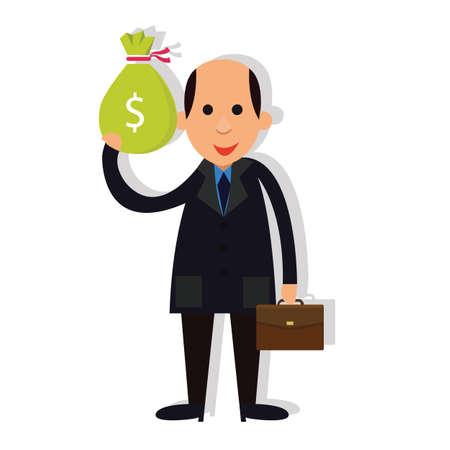 corrupt: man businessman bald holding money corrupt corruption  vector