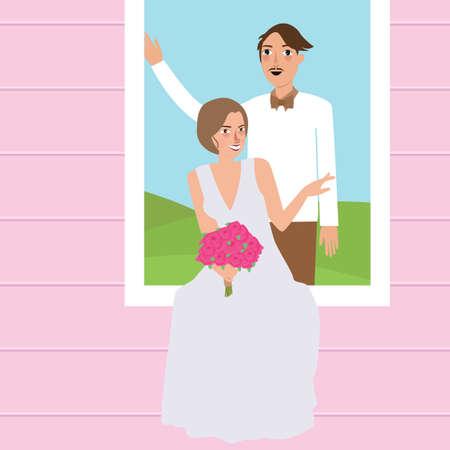 paar man vrouw trouwjurk portret in window man die achter de vrouw die bloem dragen trouwjurk vector tekening illustratie