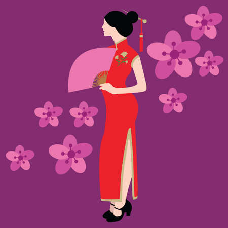chinese dress: qipao chinese traditional dress costume clothes red china asia vector drawing illustration flower wear Illustration