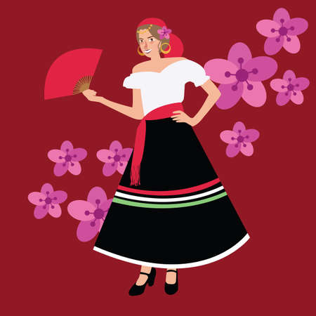 traditional spanish spain costume gypsy girl woman wearing wearing dress white black vector illustration