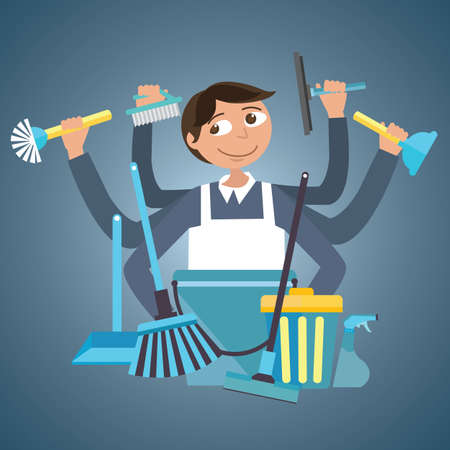 HOUSES: man male cleaning service house office cleaner tools  wipe garbage container tools janitor brush spray vector drawing illustration Illustration