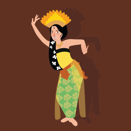 indonesia culture: bali balinese dancer traditional indonesia dance kecak culture costume asian woman girl vector