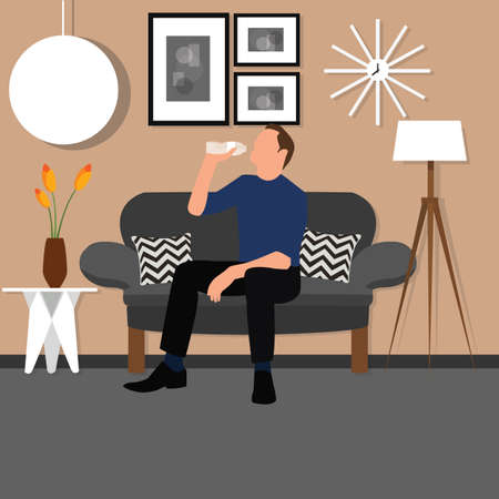 man drinking water: man people drinking water from bottle sitting chair sofa living room interior vector
