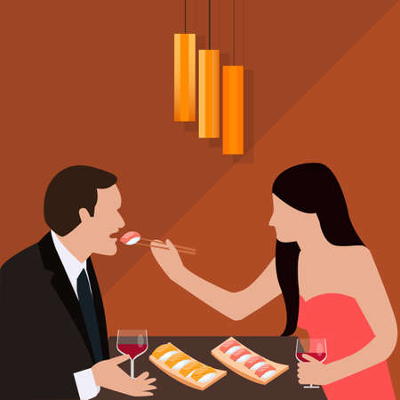romantic woman: couple dinner woman give food for man romantic sushi eating drink wine glass vector Illustration