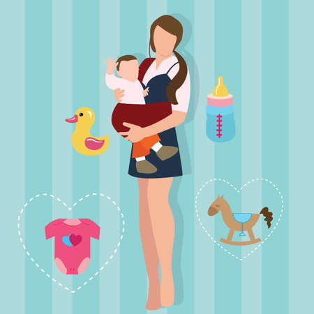 mother holding baby: woman mother holding carrying baby carrier child with sling  love parent new mom vector drawing illustration