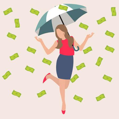 raining background: woman umbrella money rain dollar cash rich lucky success business flat vector illustration concept drawing Illustration