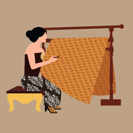 ジャワの女性少女 drawig 傾きながらバティックを作成する伝統的なインドネシアの服生地繊維ベクトルを作成