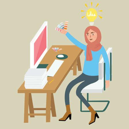 graphic design: woman female graphic designer creative idea on computer select color combination wearing veil desk sitting chair color palette vector Illustration