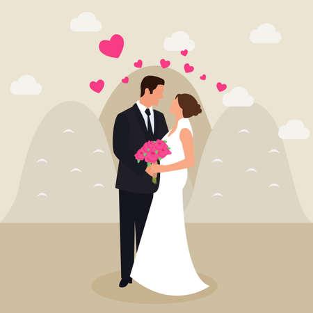 man woman couple married see eyes wedding dress love heart flower bucket in hand flat vector drawing illustration art