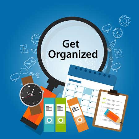 obtener el tiempo de organización organizada concepto recordatorio de calendario concepto de negocio de la productividad