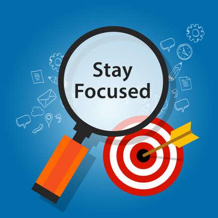 mantener la concentración en los objetivos de recordatorio objetivo plano ilustración