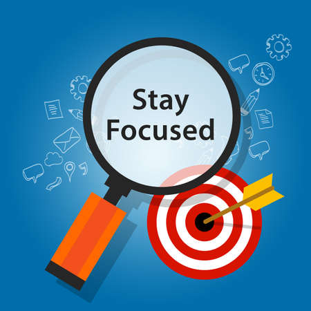 focus: stay focused on target reminder goals flat illustration Illustration