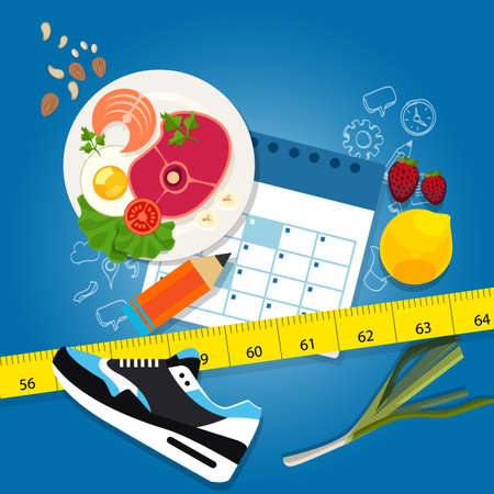 weight loss plan: diet plan weight loss program exercise healthy food calendar slim illustration